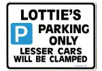 LOTTIE'S Personalised Parking Sign Gift | Unique Car Present for Her |  Size Large - Metal faced